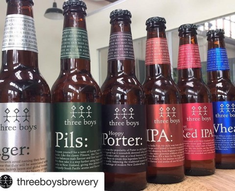 The full range for Three Boys Brewery - Silver Base Foil