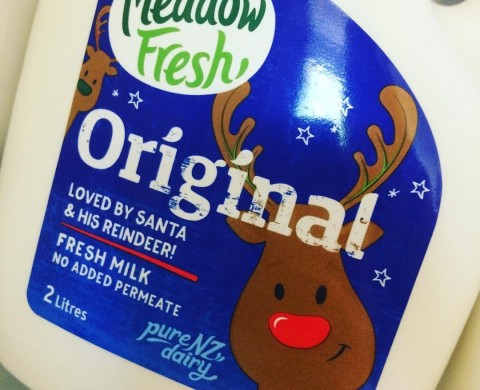 Christmas 2016 label for Meadow Fresh milk