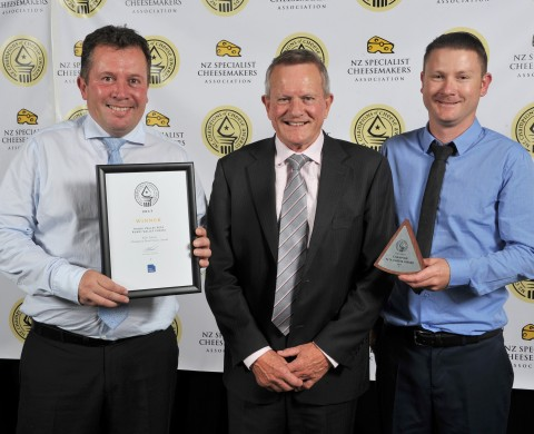 Kevin with award winners Frank Beaurain ( Head cheese maker) on left, and Daniel Cook, (cheese maker) on right, from Puhoi Valley Cheese at the NZ Champions of Cheese Awards